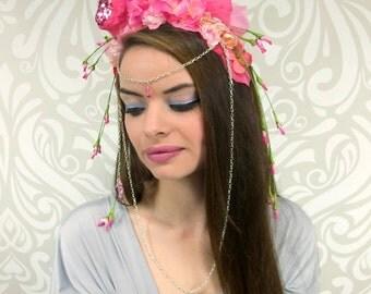 Pink Flower Fairy Costume Headdress, Fantasy Headdress, Circlet Headpiece, Floral Crown, Flower Crown Headpiece, Cosplay, Costume, Fantasy