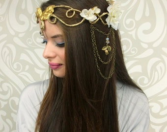 White and Gold Goddess Crown, Elven Crown, Fairy Headpiece, Flower Crown, Costume Headdress, Cosplay, Fantasy, Bridal