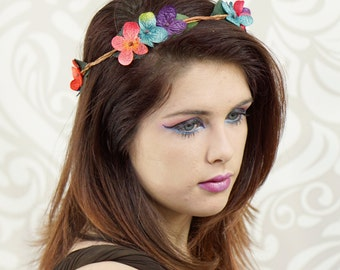 Simple Woodland Flower Crown, Pink, Purple, Blue, Boho, Circlet, Floral Crown, Flower Wreath, Costume Headpiece, Fantasy, Cosplay, Mori Kei