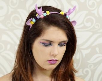 Antler Headband, Lolita Fawn Headband, Lavender, Faun, Costume Headpiece, Deer, Antler Headpiece, Sweet Lolita, Mori Kei, Woodland, Cosplay