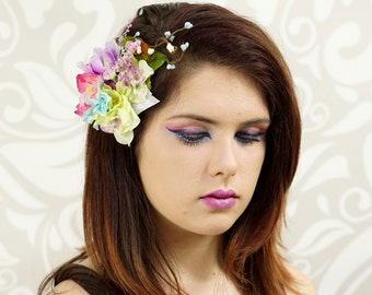 Flower Fascinator, Pastel Colors, Rainbow Flower Hair Clip, Bridal Hair Clip, Pinup Girl Rockabilly, Mori Kei, Retro Headpiece, Fantasy,