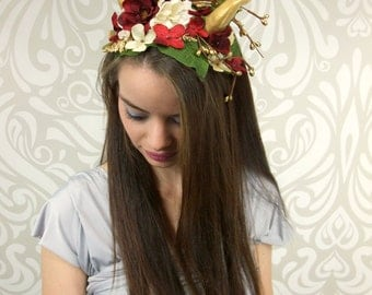 Horned Headdress, Gold, Red, White, Woodland, Costume Headpiece, Maenad, Dragon Horns, Satyr, Faun, Fantasy, Flower Crown
