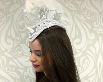Feather Mohawk, Unicorn Headdress, White and Silver, Costume Headpiece, Mohawk, Ponies, Pony Headdress, Cosplay, Costume, Lolita Unicorn