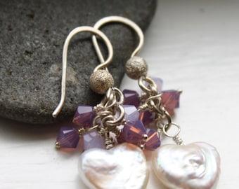 Freshwater Pearl Heart Earrings in Sterling Silver