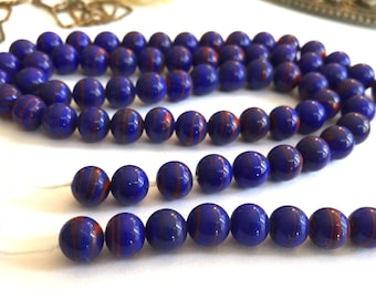Japanese Vintage beads (24) navy blue red stripe opaque glass beads Occupied Japan cherry brand rounds 7mm 8mm (24)