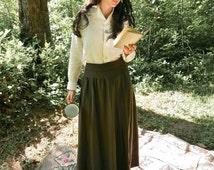 Antique Army Green Wool Skirt Size Medium