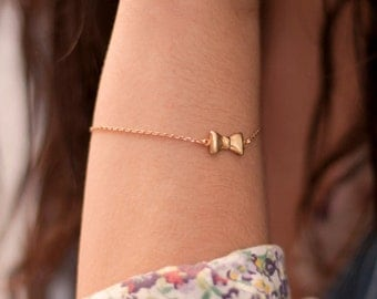 Bow Bracelet. Gold Plated Bracelet. Dainty Bracelet. Little Bow Bracelet. Bridesmaid Bow Bracelet.