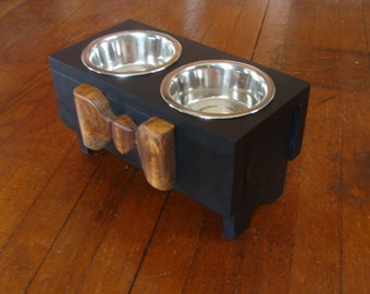 Feeding Stand Elevated Dog Feeder Bowl Holder Pet Furniture Black with Wood Bow Custom