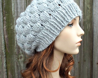 Light Grey Beanie Knit Hat Womens Hat Grey Hat - Bubble Beanie in Light Grey - Womens Accessories - READY TO SHIP