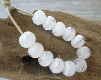 Handmade White and Clear Lampwork Beads Striated SRA