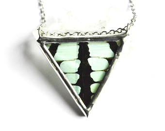 Real Butterfly Wing Necklace Graphium Antheus Faceted Jewel Triangle