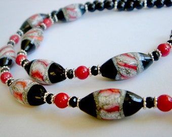 Lampwork Necklace, Black Onyx and Red Coral Necklace, Beaded Necklace