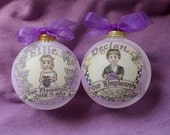 Set of Two Our Little Ring Bearer or Our Little Flower Girl Ornaments, Any Combination, Handpainted, Original, Personalized, WITH STANDS