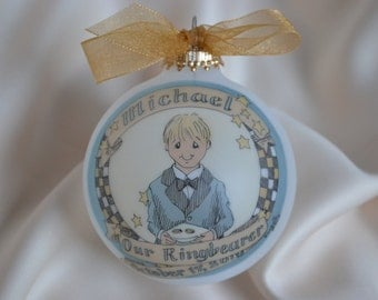 Our LIttle Ringbearer Original Handpainted Personalized Ornament