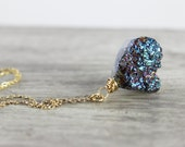 Rainbow Gemstone Necklace, Druzy Quartz Necklace, Gold Filled Necklace, Wire Wrap Necklace, Drusy Necklace, Sparkle Necklace, OOAK Jewelry