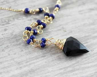 As Worn on The Originals, Black Spinel Necklace, As Seen on TV, Lapis Lazuli Necklace, Spinel Gemstone Necklace, Gold and Black Necklace