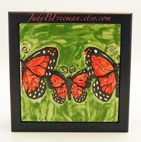 Monarch Butterfly Trio Handpainted Ceramic Tile Box Ready to Ship TB00003