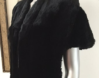 1940s Black Real Fur Stole Seal Dyed Coney