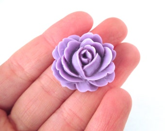 lavender cabbage rose cabochons, 26x22mm flower cabs