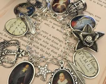 William Shakespeare Charm Bracelet, Literary Bracelet, William Shakespeare, Shakespeare Bracelet, Charm Bracelet, Literary Bracelet