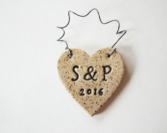 Ornament for the couple - Set of Initials and date - Wedding Initials -  ceramic clay, personalized, handmade