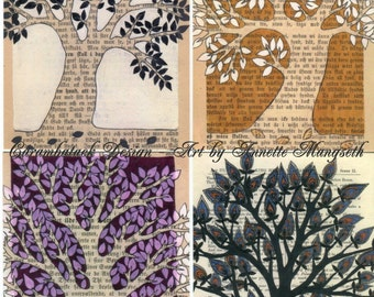 Postcard set - Trees - 4 Beautiful cards for any occation - Stationery - Snail mail