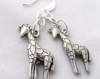 Pewter Giraffe Earrings Animal Earrings