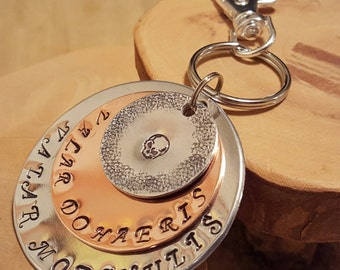 Valar Dohaeris Valar Morghulis Free City of Brazos triple layer jumbo hand stamped keychain keyfob MUST HAVE for GOT fans