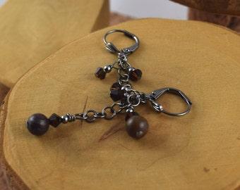 TIGER IRON JASPER brown Dainty Dangles gemstone and Swarovski crystal 2 inch long gunmetal chain leverback earrings