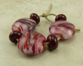 True Love Red Swirls Lentil Lampwork Bead Set - Valentines Day Love Blood Rose Red Goth Gothic Cherry Glass Beads SRA I ship Internationally