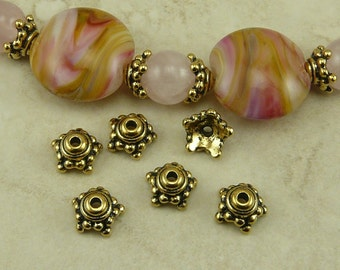6 TierraCast 9mm Beaded Star Bead Caps > Bali Style 5 Point Star - 22kt Gold Plated Lead Free Pewter - I ship Internationally 5548