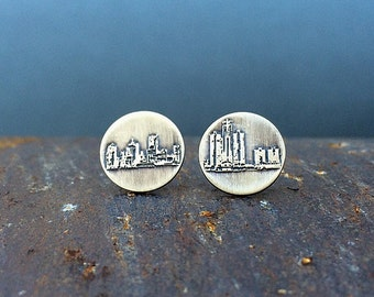 Detroit Michigan skyline earrings | stud earrings | etched brass studs | jewelry for her
