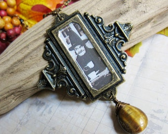A Witches' Tea Party - Medallion Necklace with Tiger Eye in Antique Brass