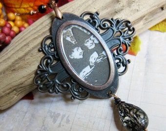 A Witches' Tea Party - Medallion Necklace with Vintage Lucite in Antique Copper