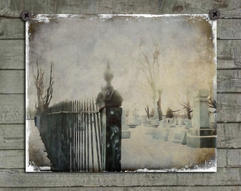 Gothic, Gate, Cemetery, Graveyard, Gray Hues, Abstract Goth Art, Tombstones, Eerie Photograph, Aged, Grungy - Gate To Necropolis
