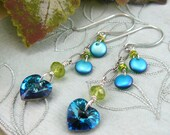 Swarovski Heart Earrings ~ Bermuda Blue Earrings ~ Blue Heart Earrings ~ Peridot Earrings ~ Dangling Heart Earrings ~ Heart Dangle Earrings