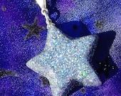 Silver Starshine- Glitter and Resin Celestial Star Pendant (N-142)