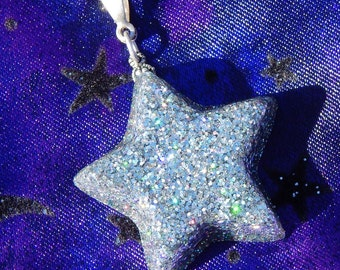 Silver Starshine- Glitter and Resin Celestial Star Pendant (N-142)