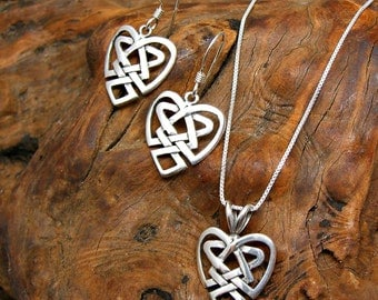 Irish Celtic Heart Sterling Silver Charm Pendant Necklace and Ear Wire Earrings Set no. 2003 - 3569