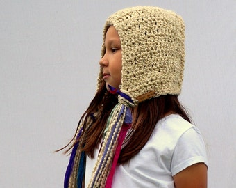 The Rapunzel Hood in Latte -  Super Long Tassels, Cream Coloured Hood, Princess Hood