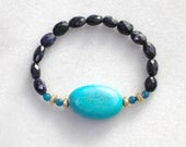 Little Luxe Simple Stacking Stretch Bracelet in Blue Sapphire, Turquoise and Gold Vermeil...