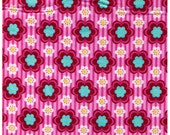 DESTASH - One Yard - Pink Flowers with Aqua Centers on Pink Stripes