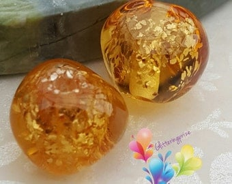 Lampwork Beads Glass Golden Sparkle Nuggets