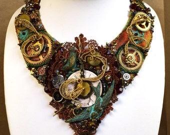 Steampunk Bib Necklace - Verdigris Bib Necklace - Steampunk Bridal Necklace - Steampunk Collar Necklace - Recycled Metal Necklace