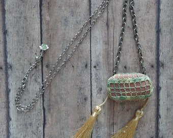 Crocheted Lace Stone Necklace, Handmade, Original, Green, Gold, Antique Silver, Nature, Tribal, Monicaj