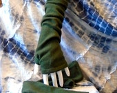 Long & luscious two-ply forest green cashmere fingerless gloves arm warmers boho chic teen texting mori girl upcycled handmade mittens