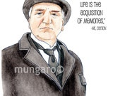 Watercolor print or tea towel of Mr. Carson from Downton Abbey with favorite quote painting by Marley Ungaro