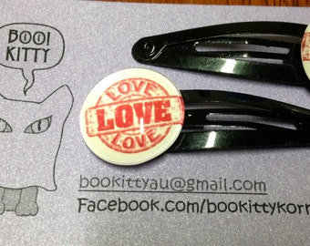 Love Hair Clips - Set of 2
