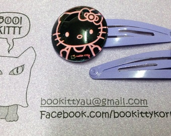 Kitty - Pink Outline on Purple Clip - Hair Clips Set of 2