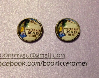 Alice in Wonderland 'We're All Mad Here' Bronze tone Stud Earrings